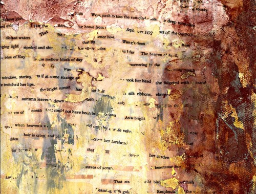 Words collaged onto paper over a textured paint surface.